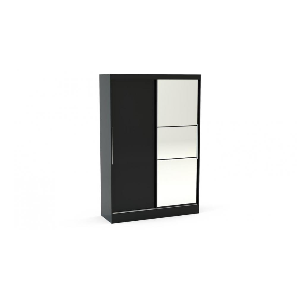 Furniture Lynx Grey Sliding Wardrobe with Mirror 132cm Grey & Black Gloss (Wardrobe Colour: Black)