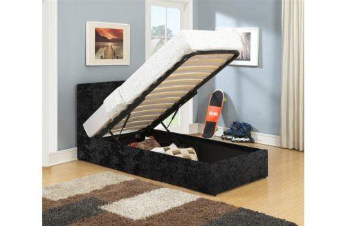 Lyon Ottoman Single Bed Frame Crushed Velvet Black 4