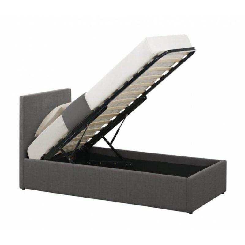 Lyon Ottoman Single Bed Frame Fabric Grey 2