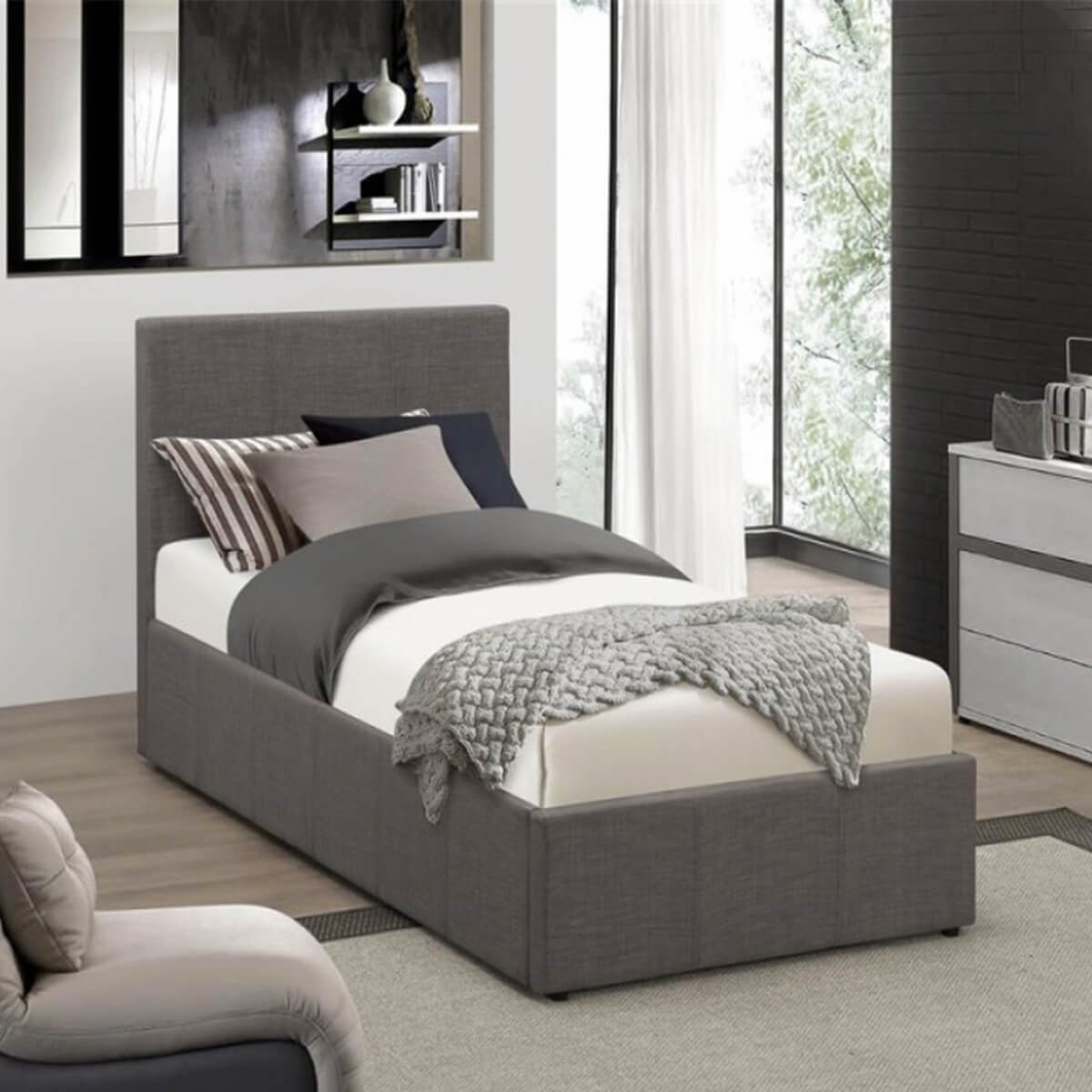 Lyon Ottoman Single Bed Frame Fabric Grey 3