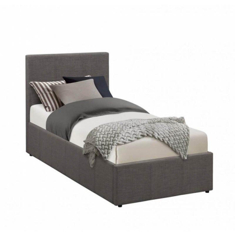 Lyon Ottoman Single Bed Frame Fabric Grey