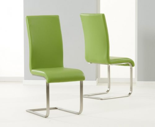 Malibu Cantilever Dining Chair Faux Leather Green 1
