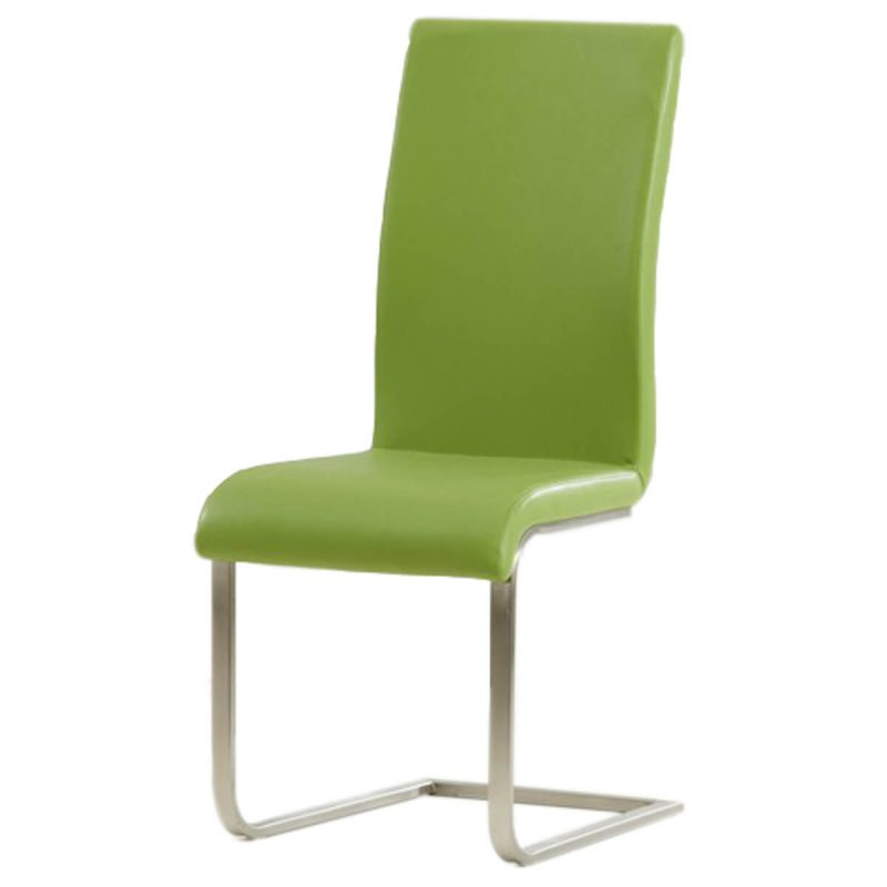 Malibu Cantilever Dining Chair Faux Leather Green