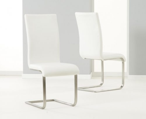 Malibu Cantilever Dining Chair Faux Leather Ivory 1