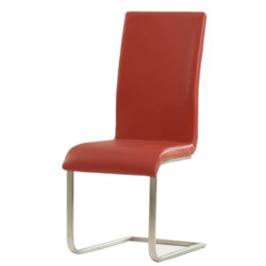Malibu Cantilever Dining Chair Faux Leather Red