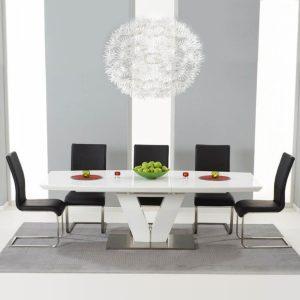 Malibu White Extending Dining Table - Black