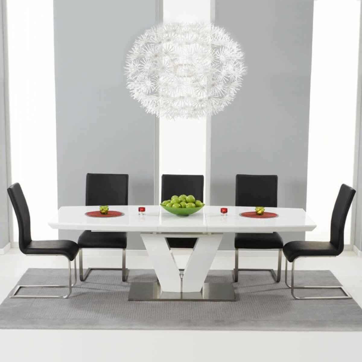 Malibu White Extending Dining Table - Black