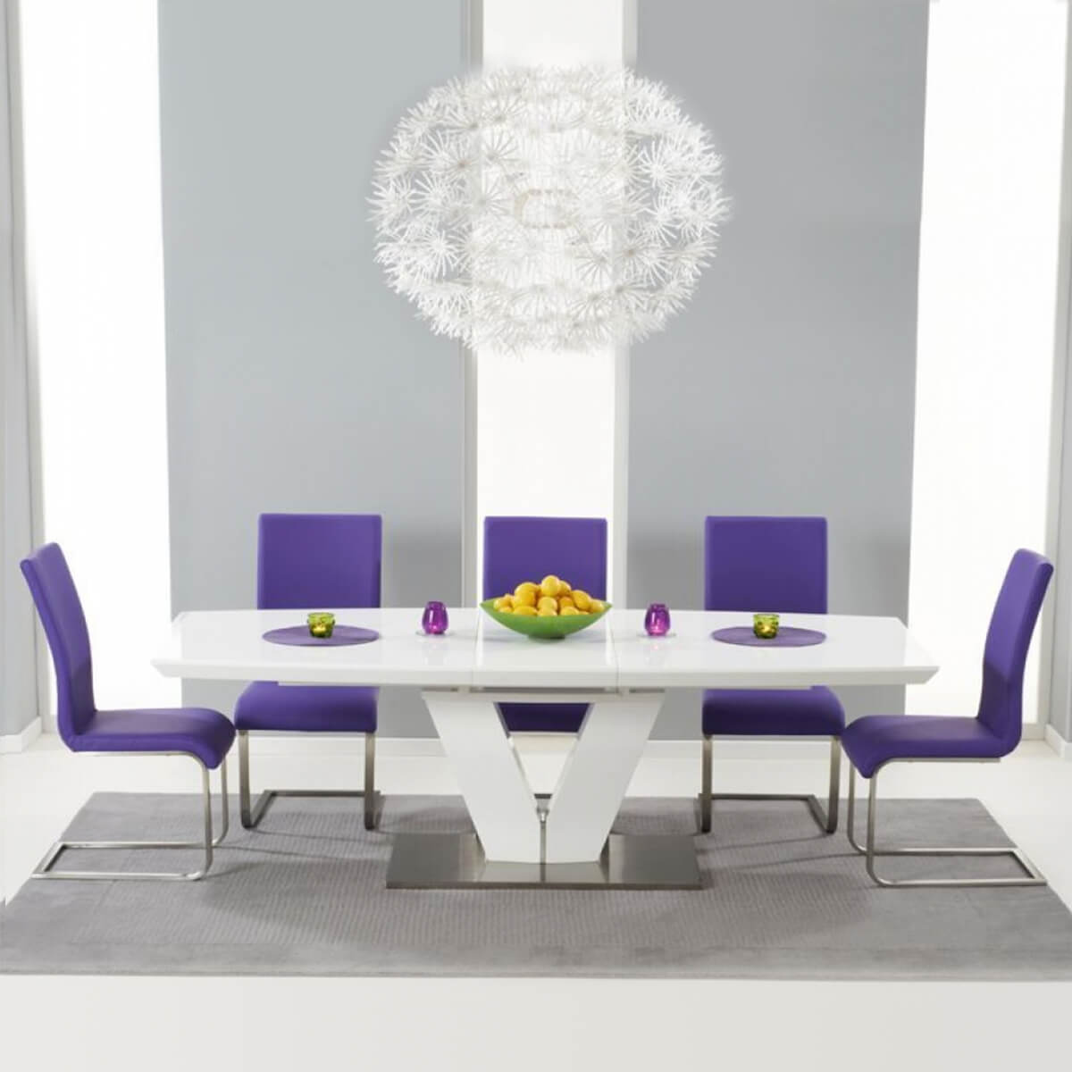 Malibu White Gloss Dining Table Multi Colour Dining Chairs Fads