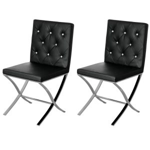 Marlow Dining Chairs Black Faux Leather Diamante