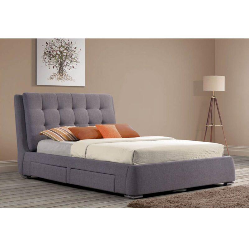 Mayfair Storage Drawer Bed Frame Textured Fabric Grey 2