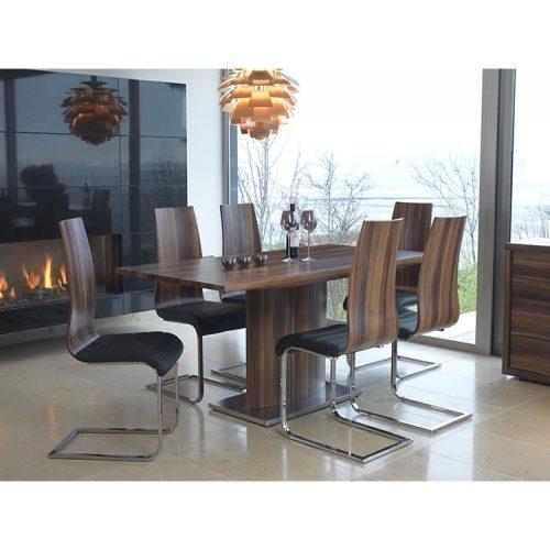 Messina Walnut & Steel Dining Set 1