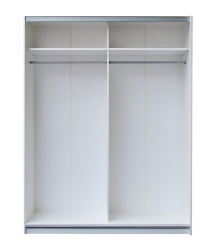 Miami Sliding Door Mirrored Wardrobe 150cm White High Gloss 3