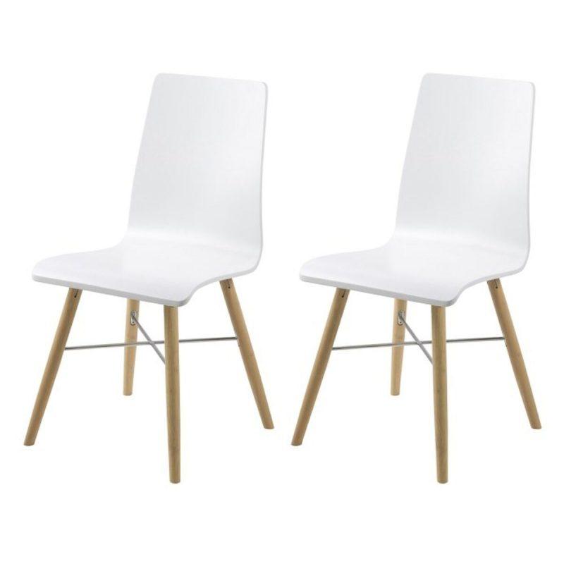 Milton Pair of White Eames Style Chairs