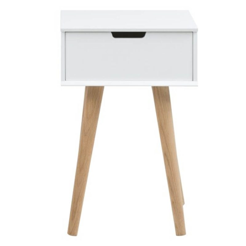 Mitra Bedside Table White 1 Drawer