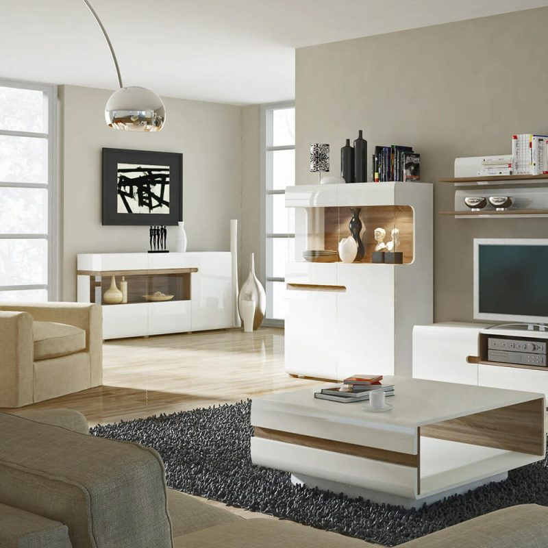 Mode White Gloss & Oak Sideboard 2