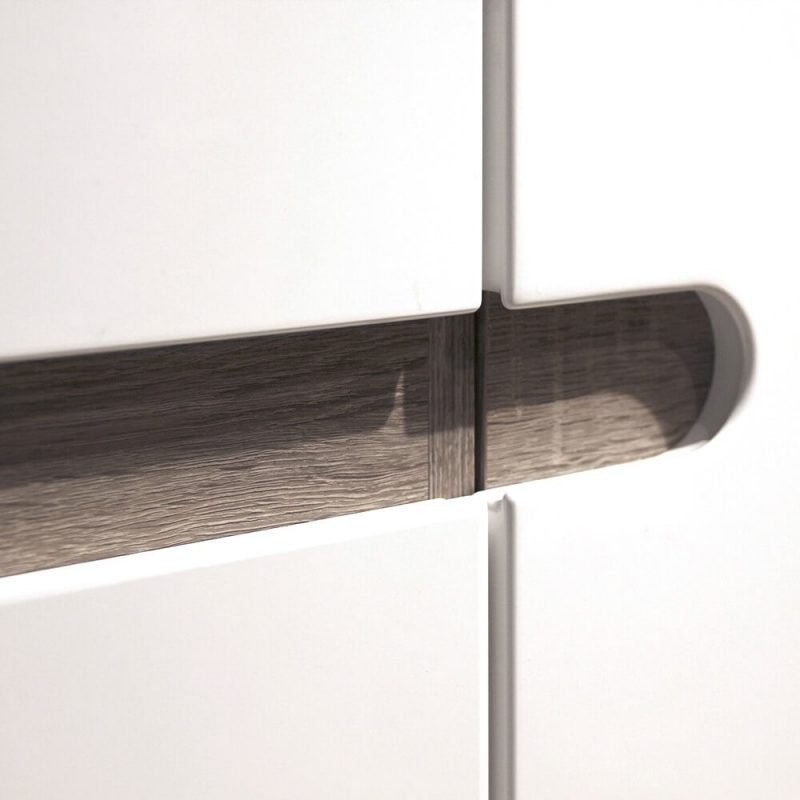 Mode White Gloss & Oak Sideboard 3