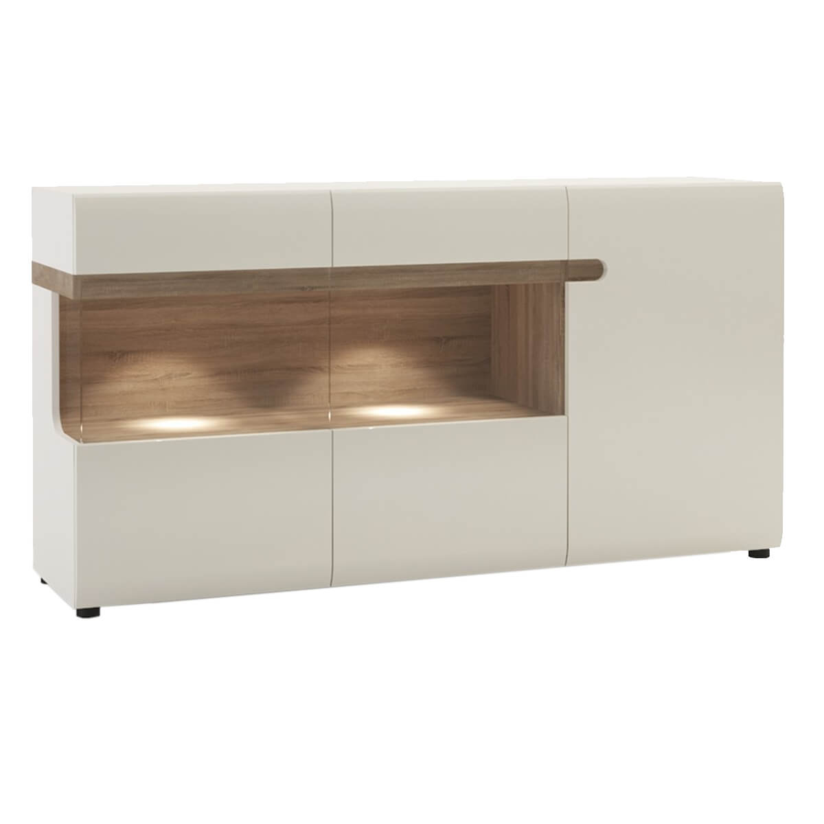 Mode 3 Door Glazed Sideboard White Gloss & Truffle Oak