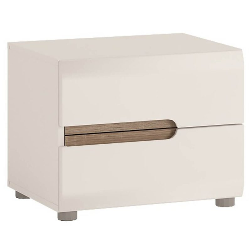 Mode Bedside Table White Gloss & Oak Bedside 2 Drawer