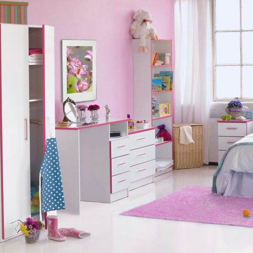 Modern Kiddi 3 Drawer Chest Pink 2