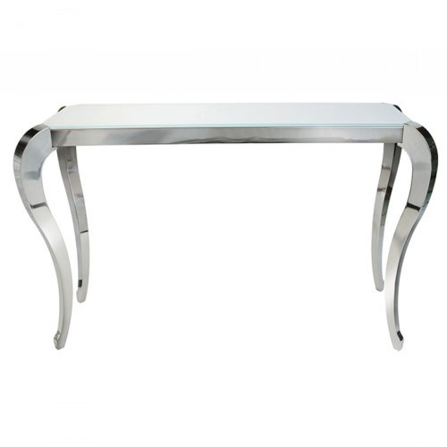 Moulin Console Table White Glass & Stainless Steel