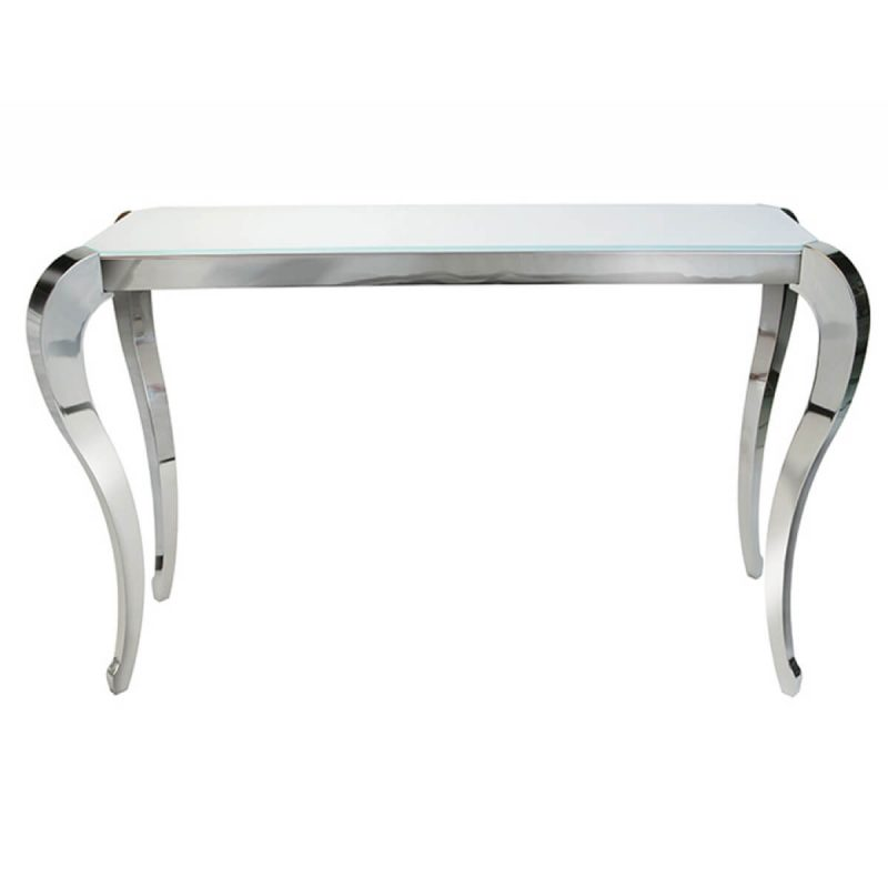 Moulin white glass stainless steel console table fads for White and glass console table