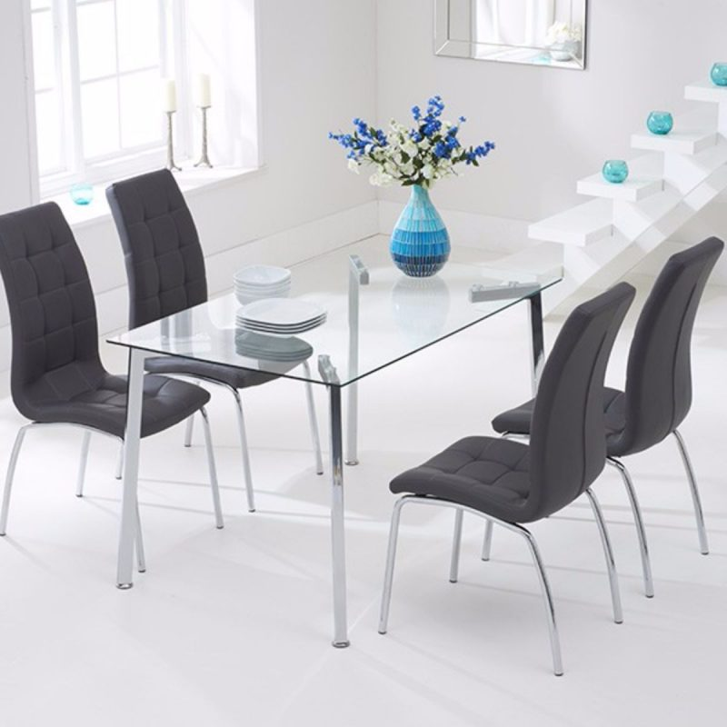 Munich Rectangular Glass Dining Set Grey