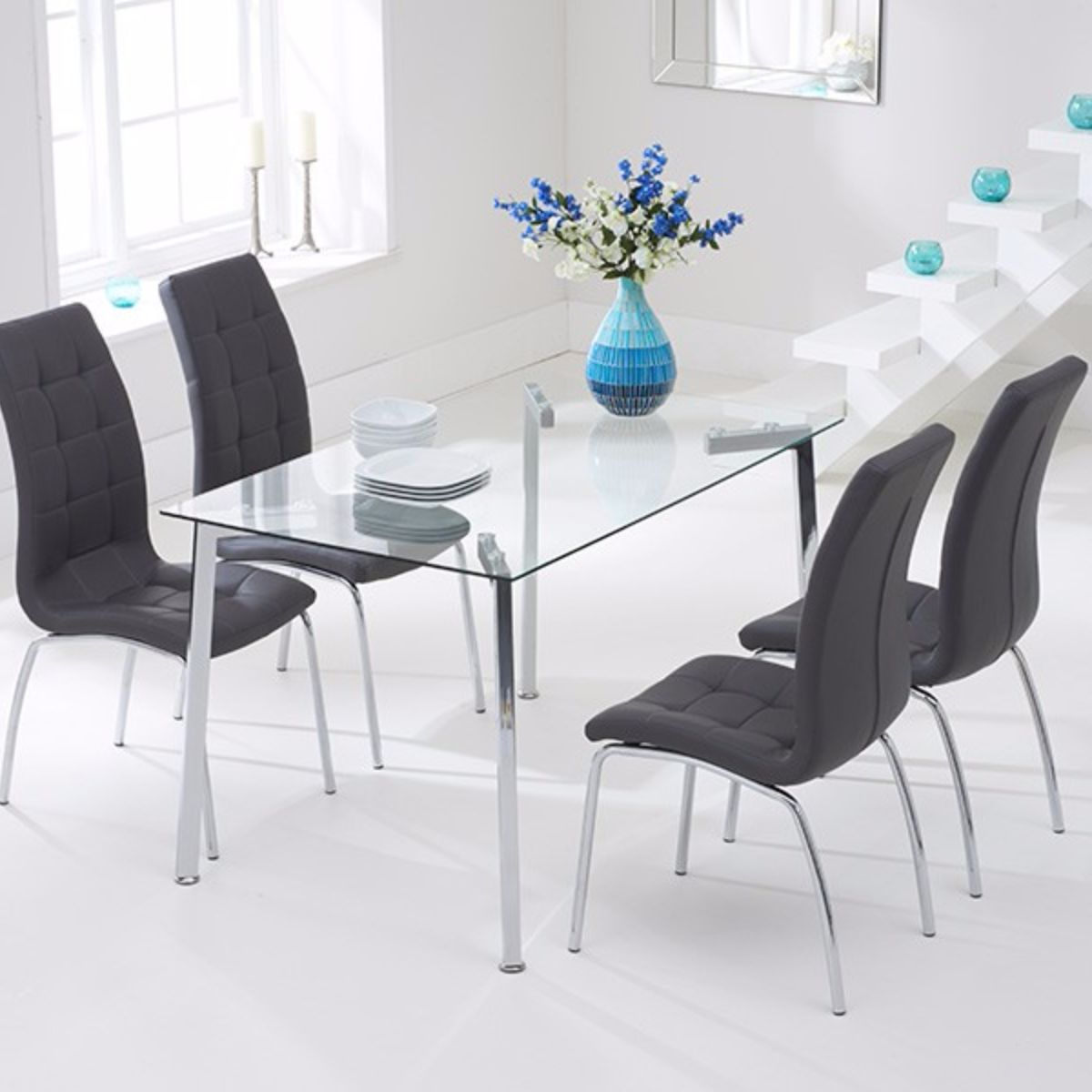 Munich Glass Dining Table with 9 Chairs