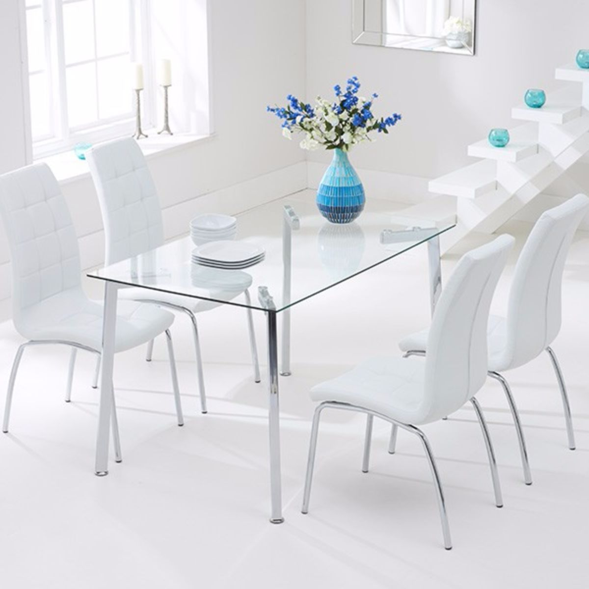Munich Rectangular Glass Dining Set | Glass Dining Sets | FADS