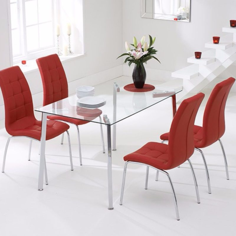 Munich Rectangular Glass Dining Set Red