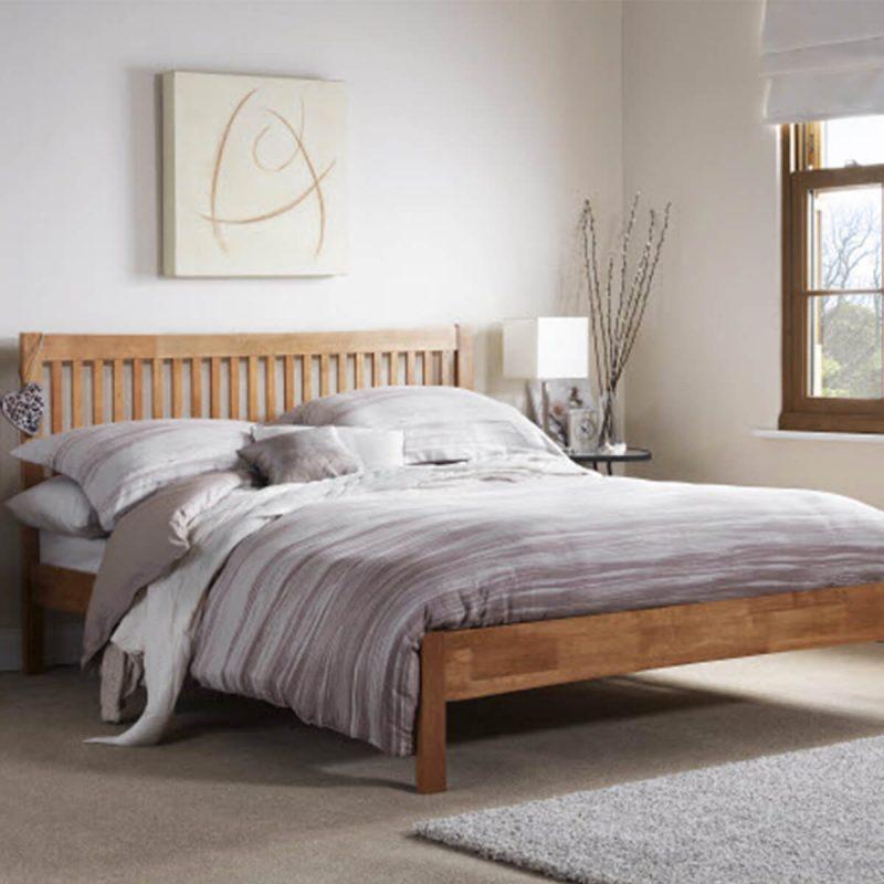 Mya Slatted Wooden Bed Frame Honey Oak 2