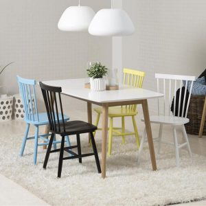 Nagano Dining Set 4 Seater White & Oak (Various Colours Available)