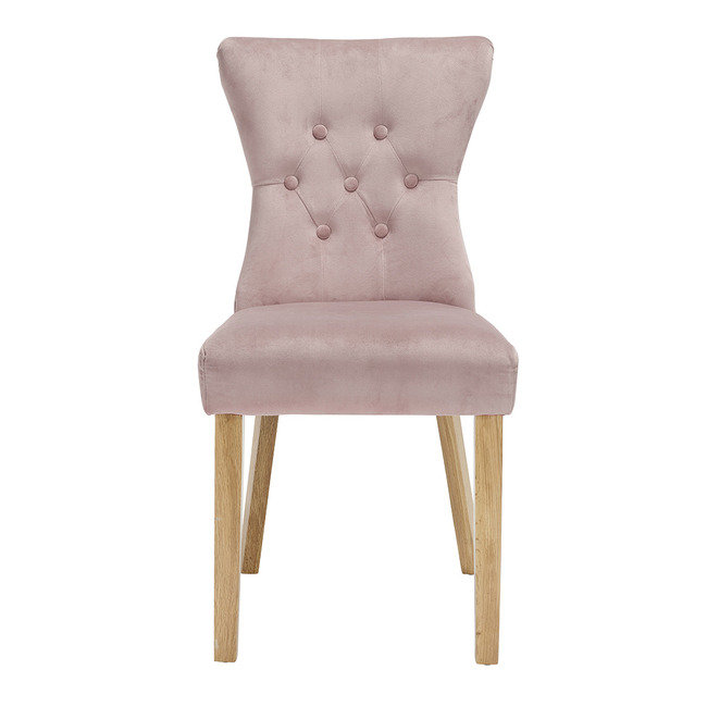 Naples Dining Chairs Linen Fabric (Pair) (Chair Colour: blush pink)