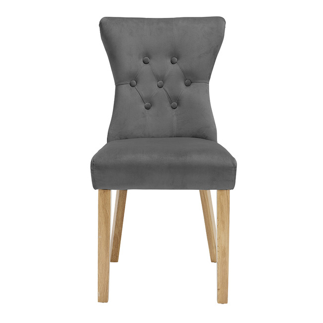 Naples Dining Chairs Linen Fabric (Pair) (Chair Colour: steel grey)