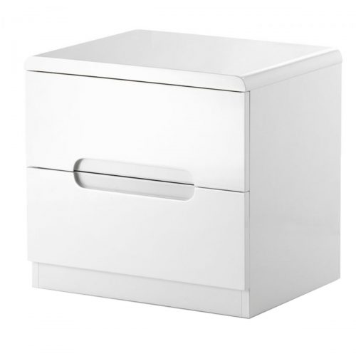 New York Bedside Table White High Gloss 2 Drawer