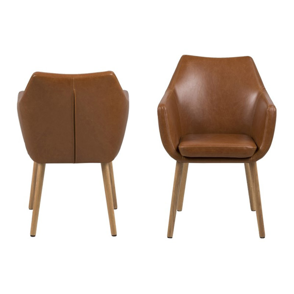 Nora Brandy Brown Leather Carver Chair Free Delivery Fads