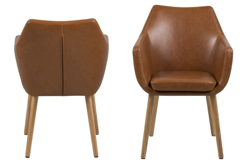 Nora Brown Leather Carver Chair 1