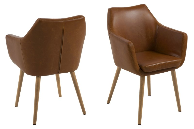 Nora Brown Leather Carver Chair 4