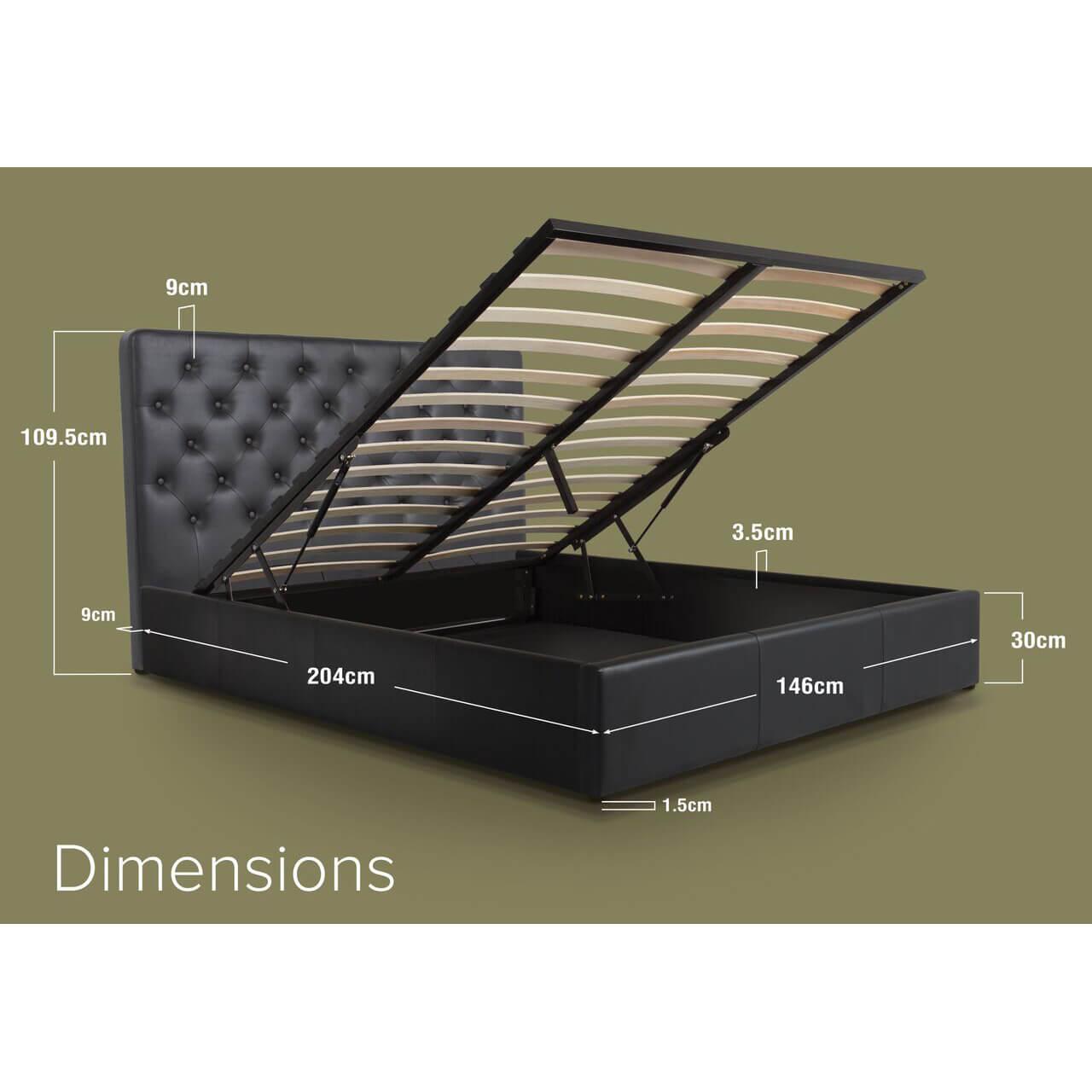 Nova Black faux Leather Ottoman Bed Double dimensions