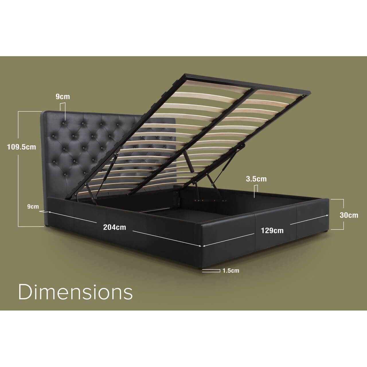 Nova Black faux Leather Ottoman Bed Small Double dimensions