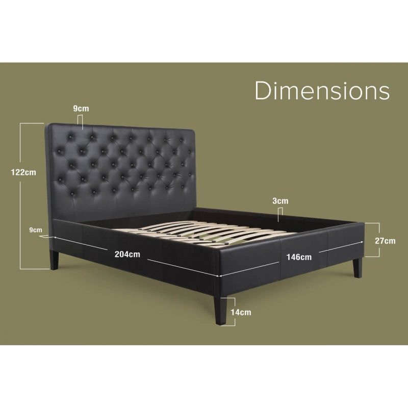 Nova Faux Leather Bed Frame Black Double Dimensions
