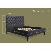 Nova Faux Leather Bed Frame Black King Dimensions