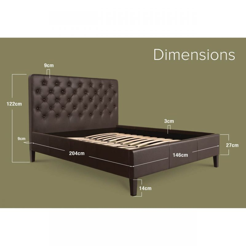 Nova Faux Leather Bed Frame Brown Double Dimensions