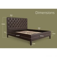 Nova Faux Leather Bed Frame Brown King Dimensions