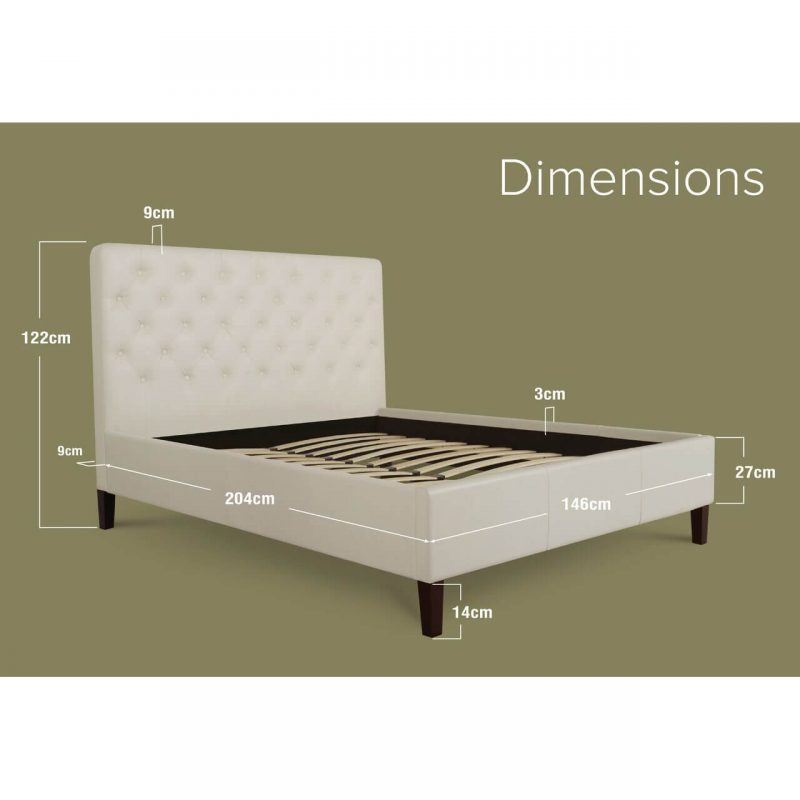 Nova Faux Leather Bed Frame White Double Dimensions