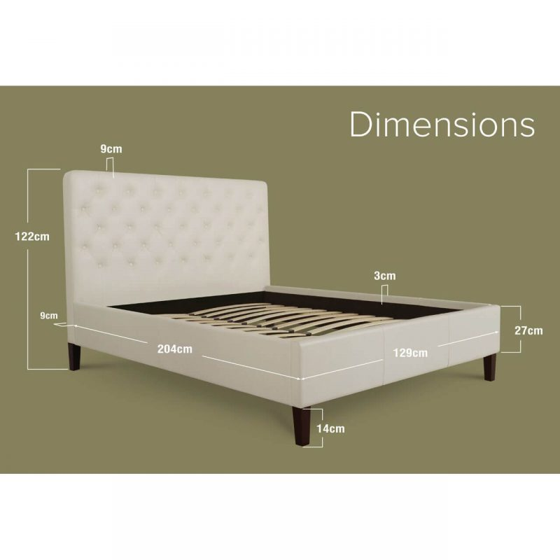 Nova Faux Leather Bed Frame White Small Double Dimensions