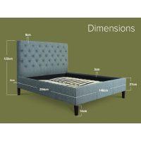 Nova Grey Linen Bed Frame 4