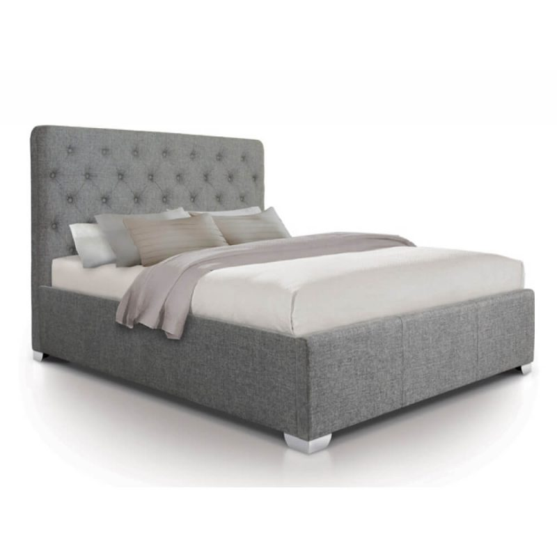 Nova Grey Linen Bed Frame with Hard Base Ottoman 1