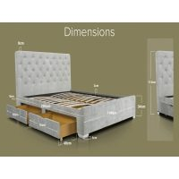 Nova Light Grey Crushed Velvet Bed With Storage Drawers 4