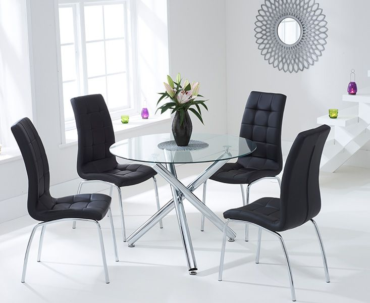 Odessa Glass Dining Table Set with 4 Chairs (Chair Colour: Black)