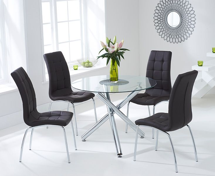 Odessa Glass Dining Table Set with 4 Chairs (Chair Colour: Brown)